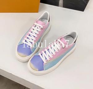 2020 nuevas mujeres de la Tie-dye Chaussures zapato hermosas zapatillas de deporte ocasionales de la plataforma de los diseñadores los zapatos del cuero de lujo de los colores sólidos zapatos de vestir con la caja