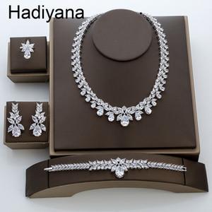 Hadiyana New Luxury Bridal Engagement Wedding Jewelry Set Shiny Water Drop Ladies Collana orecchino set di anelli braccialetto TZ8087