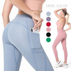 Pocket, pantaloni da yoga ad alta vita Pantaloni sexy Sexy Hips Aumentare i fianchi, Fissaggio stretto Forma Fitness doppio pantaloni broccato lato alto Elasticità