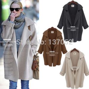 Новый женщин Batwing рукавом зимой шерстяные куртки пальто женщин средней длины пальто шерстяное пальто парки