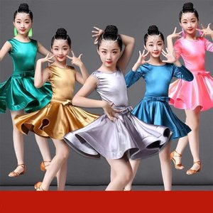 2019 Rumba Samba Children Samba Tango Skirt Standard Long Sleeve Girls Spandex Latin Dresses For Dancing Ballroom Dance Dress