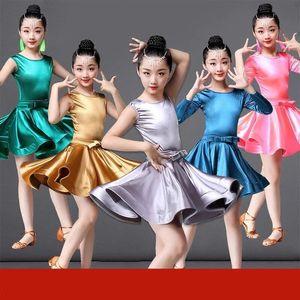 2019 Rumba Samba Samba bambini Tango Gonna di serie del manicotto lungo Ragazze Spandex Vestiti latini per Ballare Ballroom Dance Dress