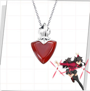 Fate / Stay Night Tohsaka Rin Rotes Herz 925 Sterling Silber Anhänger Halskette Cos