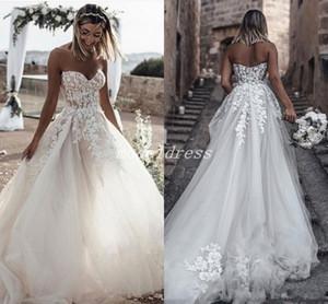2019 챠밍 웨딩 드레스 Sweet Heart Backless Sweep Train Appliques Garden Country Bridal Gowns 플러스 사이즈 robe de mariée 플러스 사이즈