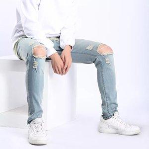 1 Designer Slides Mens 2020 Yuxury Designer roupas de grife Calças Calças justas Ripped Destruído estiramento Slim Fit Calças com furos para Homens