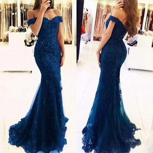 Cheap Navy Blue Lace Mermaid Appliques Off-the-shoulder Evening Dresses 2019 Vestido De Festa Beaded Sequins Long Prom Gowns BA3809