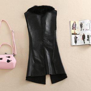 plus size 5XL!Winter Velvet PU Leather Vest Women Blazer Long Streetwear Jacket Autumn Coat Warm Waistcoat Basic Outerwear