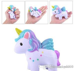 Sorte Rainbow Color Unicorn mole brinquedos coloridos Cavalo Lento Nascente Kawaii macias Jumbo Squeeze encantos de telefone Apaziguador do esforço
