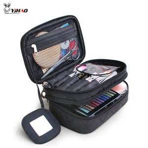 Yihao Diamant-Gitter-Double-Layer-kosmetische Beutel mit Spiegel-Reisen Funktions Makeup Pouch Kulturtasche-Kasten-Organisatoren