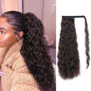 """140g 18 """"Corn Curly Wrap Around Estensione dei capelli coda di cavallo per clip di estensione dei capelli umani della donna sulla coda di cavallo Posticci"""