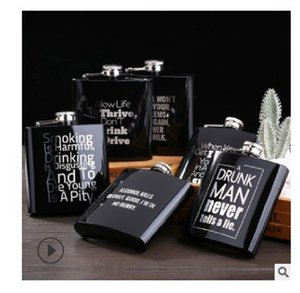 2020 hot sale Hip Flasks 6oz shiny black stainless steel metal English wine bottle Drinkware Dining Bar