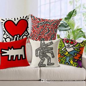 Capa de Almofada dos desenhos animados Keith Haring Resumo Travesseiro Caso Cadeira Capa de Almofada Decorativa Throw Pillow Cover