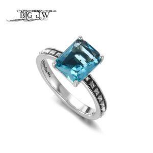 BIG J.W Minimalista 925 anelli in argento sterling per le donne Bella Blue Glass Stone Rings Moda coreano 2018 gioielli migliori regali