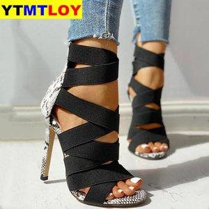 Sandalias Mujer 2020 Женские Ladies насосы Мода бинты заплатки смешанные цвета змея высоких каблуках сандалии Повседневная обувь size36 ~ 42
