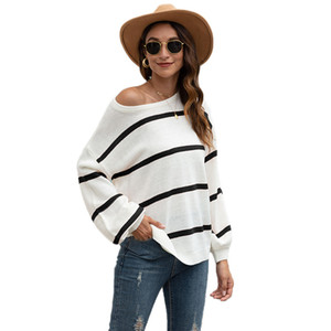 ZADORIN 2020 Autumn Basic Striped Sweater Hit Casual Oversize Pullover Women Long Sleeve All Match Hotsale Sweaters pull femme