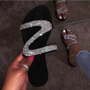 Faux-Diamant-Pantoffeln Dame Mode Sandale glänzenden Strass Flip-Flops Frau beiläufig Pantoffel Strand Größe Bördeln der Frauen Sandale zy749