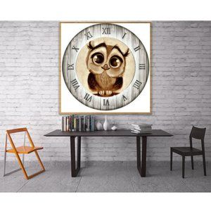5D DIY Diamond Painting Cross Stitch owl clock Crystal Square Diamond Sets Needlework 3D Full Diamond Embroidery mosaic Painting