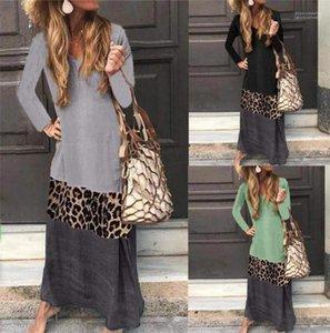 Una linea media di vestiti vita delle donne di leopardo Contrasto Colore del vestito signore di autunno a pannelli con scollo a V Abiti Moda
