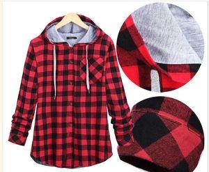 Fashion Women Hoodies Cotton Autumn Winter Coat Long Sleeve Plaid cotton Hoodies Casual button hooded Sweatshirt Oversize
