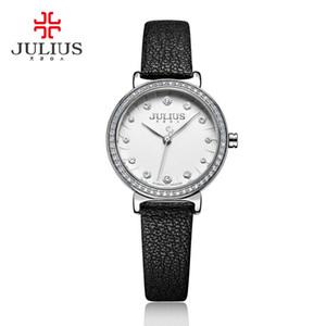 Julius 2018 İzle İçin Kadınlar Kuvars saatler ile Elmas Kırmızı Deri Kayış Relogio Feminino Moda Saat dropshipping JA-965