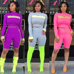 Diseñador de las mujeres de la cinta reflectante Strip 2pcs juegos de los cortocircuitos del verano ocasional sólida de color la ropa de moda femenina chándal Moda