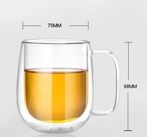 DHL 250ml Double Wall Insulated glasses Espresso transparent beer tea wine coffee Mugs Dining Bar Drinkware nx