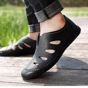 QFFAZ 2020 Chaussures Homme Nouveau Cuir véritable Hommes Sandales d'été Chaussures hommes sandales de plage homme Mode extérieur Sneakers Casual