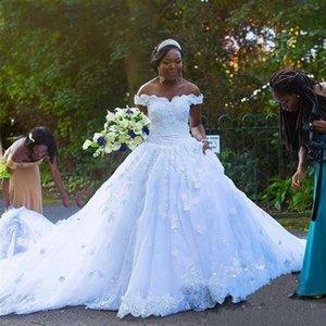 African Ball Gown Plus Size Wedding Dresses Gorgeous Off Shoulder Lace Beaded 3D Flowers Black Girl dress Vestido De Noiva Bridal Gowns