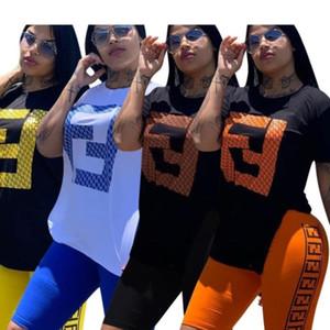 Womens sportswear designer tuta manica corta outfit 2 pezzi set jogging sportsuit felpa con cappuccio legging outfit hot klw1180