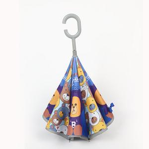 9style Kinder-Cartoon-Tier Regenschirme Kinder C Typ Reverse-Regenschirm Double Layer Windschutzschirme Outdoor Angeln Regenschirme GGA3534-6