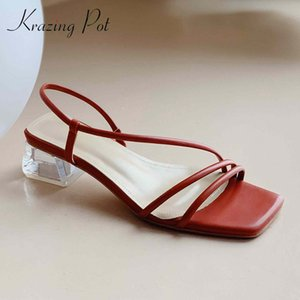 Krazing pot leisure narrow band streetwear modern fashion dress new square toe women sandals med crystal heels summer shoes L41