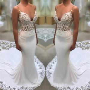 Vestidos de boda de la sirena del satén del cordón atractivo de los tirantes de espagueti 2020 Ilusión blusa Vestidos de novia con la Corte de tren