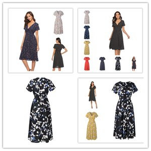 Sommer-Frauen lange Kleid Retro Punkte gedruckte kurze Hülsen-Chiffon- Strand-Röcke modischer Punkt-Flora-Druck mit V-Ausschnitt Kleid Bohemian Kleider Hot LY303