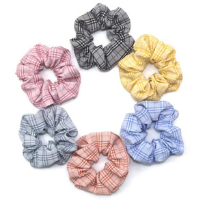 New Fashion Women girl Scrunchy Ring Elastic Rope Hair Bands Plaid stripe Large intestine Sports Dance Scrunchie Hairband Hair Accessories