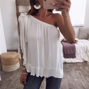 Fashion-Candy Color Loose Women Summer Tshirts Color sólido fuera del hombro Señoras Tops Casual Tops Tallas grandes Ropa de mujer