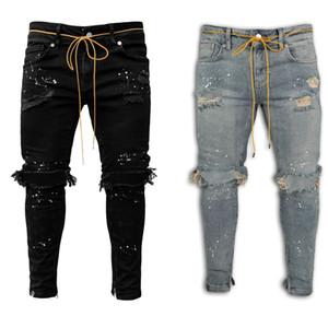 Hole Patchwork Paint Mens Jeans Slim Men Designer Pencil Pants Casual Fashion Comfortable Four Seasons Male Pants