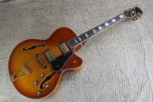Новое прибытие G Пользовательские L5 Jazz Guitar CES Archtop Semi Hollow Электрогитара Оранжевый цвет На складе Бесплатная доставка
