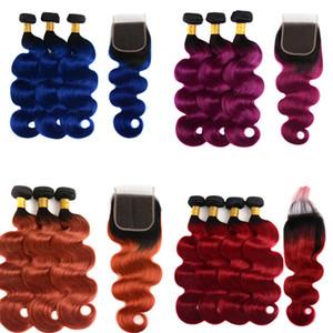 Ombre пучки человеческих волос с 4x4 кружева закрытия девственные бразильские волосы ткет прямые тела волна Ombre наращивание волос