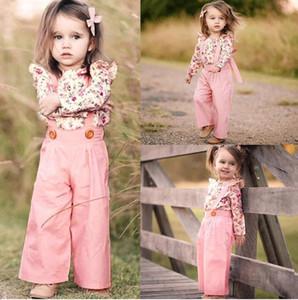 Модная детская одежда для девочек 2шт с длинным рукавом с цветочным принтом + сплошной комбинезон Брюки Одежда наряды Зимняя одежда Conjunto Meni