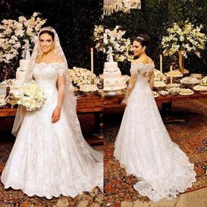 Tendance 2019 robes de mariée à manches longues pure Indien festonné au large de l'épaule décolleté une ligne fermeture à glissière dos dentelle arabe robes de mariée