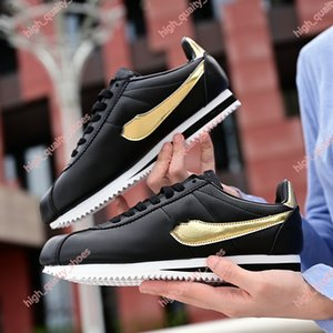 New Classic Xshfbcl Cortez Basic Leather Casual Shoes Cheap Fashion Men Women Black White Red Golden Skateboarding Sneakers Size 36-45