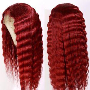Pre pizzico di colore rosso lungo dell'onda profonda 13x4 merletto della parte anteriore umano parrucche di capelli con il bambino brasiliano Remy pizzo trasparente