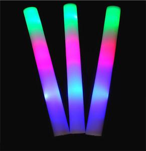 LED Glow Sopa Yanıp Sönen Light Up Köpük LED Katı Gökkuşağı Renk Sopa Sopa 2019 Konser Düğün Doğum Günü Noel Partisi Için LED Sünger Sticks A21601