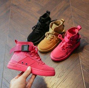 2019 bambini di autunno scarpe casual scarpe delle ragazze dei ragazzi Sport Sneakers traspirante Bambini tela Boots cucitura high-top principessa Boots S200107