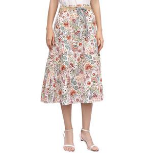 2019 summer designer dress floral print big hem beach skirt bohemian linen half-length skirt A-line skirt