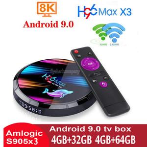 H96 Max X3 Amlogic S905X3 Android 9.0 TV Box 4GB + 32GB / 64GB / 128GB dupla WiFi 2.4G + 5G Com BT caja de android tv