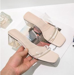 8Fresh summer feels like a new transparent jelly square toe heels fashion woman's slide