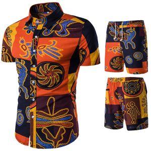 2019 Летний мужской хлопковый комфортный костюм тонкого сечения (рубашка + шорты) Повседневная пляжная рубашка большого размера с короткими рукавами S-5xl C19042301