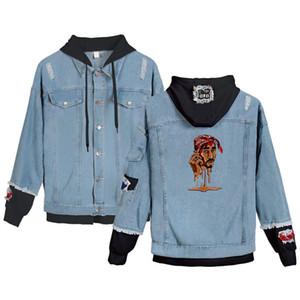 Рэпер 2pac Зима Мужчины куртки и пальто Тупак Амару Шакур с капюшоном Джинсовая куртка способа Mens Жан куртки и пиджаки Мужской Cowboy