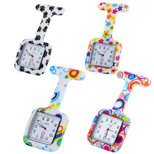 10pcs 스퀘어 얼굴 패션 여성 숙 녀 간호사 포켓 시계 의료 의사 실리콘 다채로운 꽃 인쇄 시계